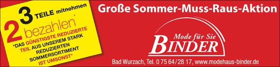 Sommer-Aktion Modehaus Binder