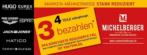 Herrenmode Michelberger - Marken-Männermode stark reduziert